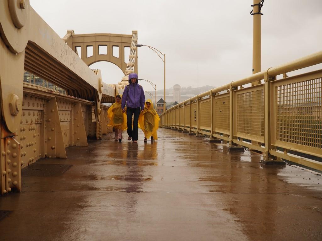 Judah, Jenny, and Grace on the Rachel Carson Bridge