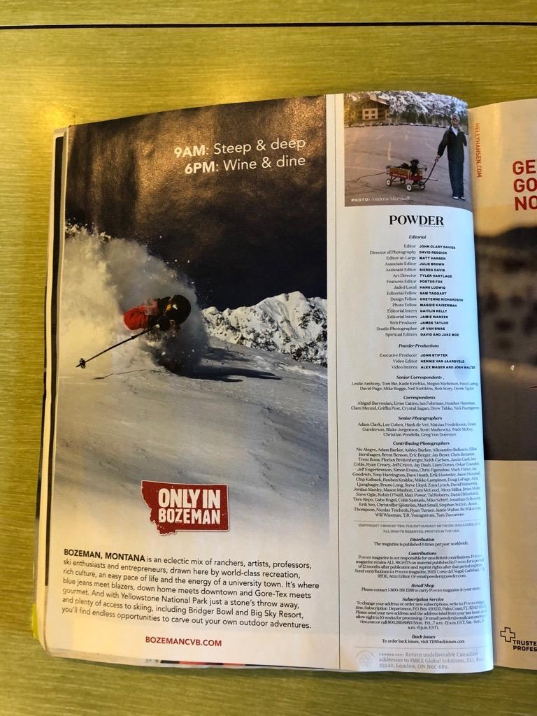 """Only in Bozeman"" ad in Powder Magazine"